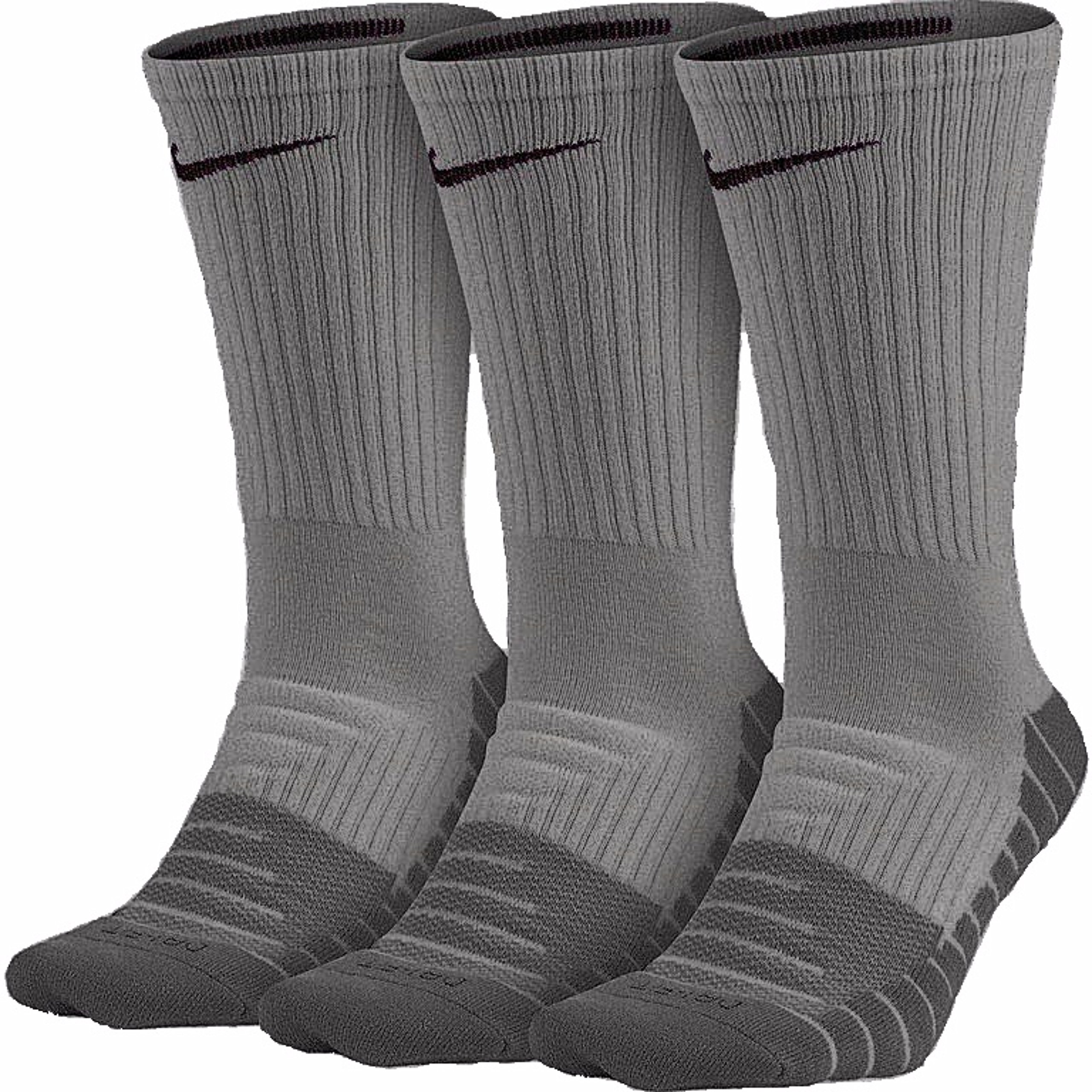 Nike Mens Dri-Fit Cushioned Crew Socks - 3 Pairs (Heather/Cl;oud Blakc/Grey, Large ( 8-12)) by Nike