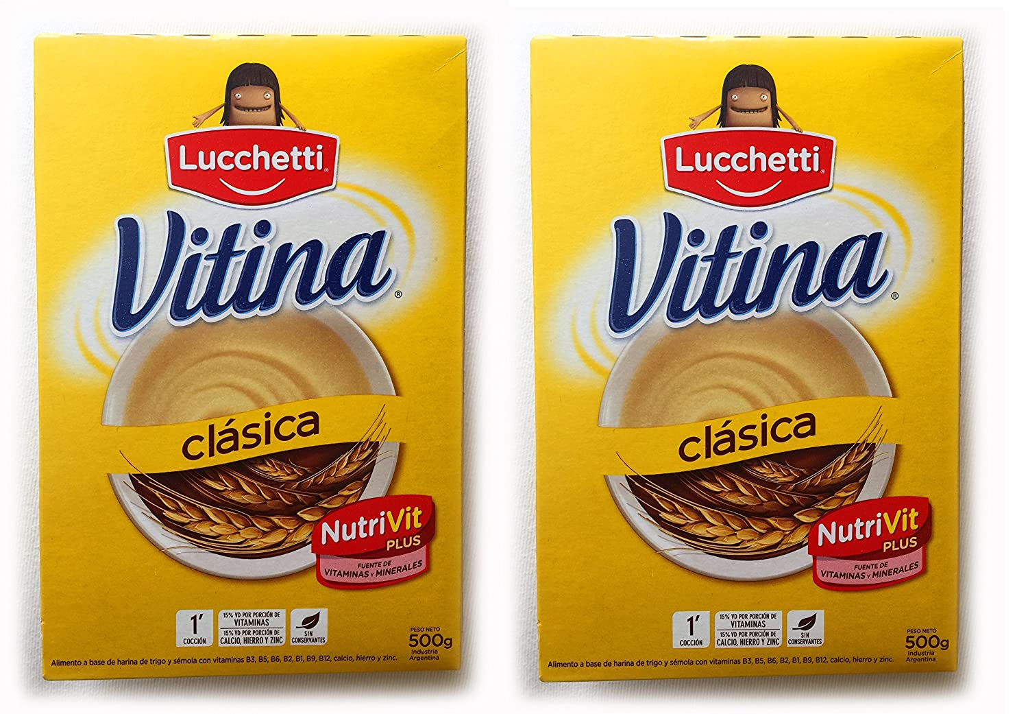 Amazon.com : VITINA Clasica Alimento a Base de Semola y Trigo 500 gr.- 2 Pack | Semolina and Wheat-based Food 1.1 lb. - 2 Pack : Grocery & Gourmet Food