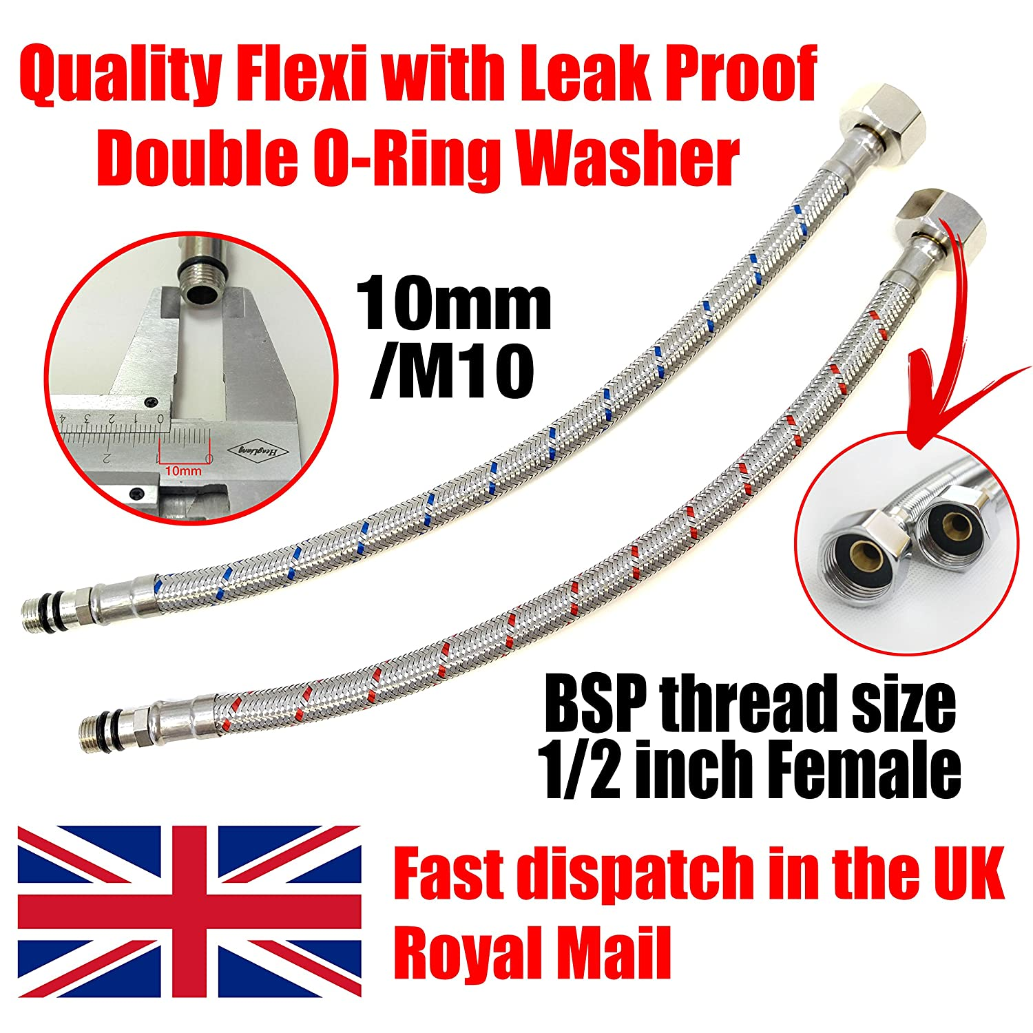 Xcel Home 2 x M10 x1/2 BSP (400mm) Kitchen/Basin Monobloc Mixer Tap Connectors Flexi Pipes Tails Evergreen Goods Ltd Others