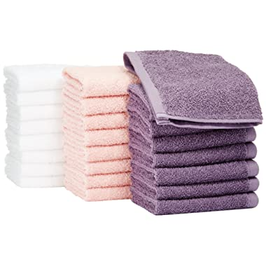 AmazonBasics Washcloth - Pack of 24 (Multi-Color: Petal Pink, Lavender, White)