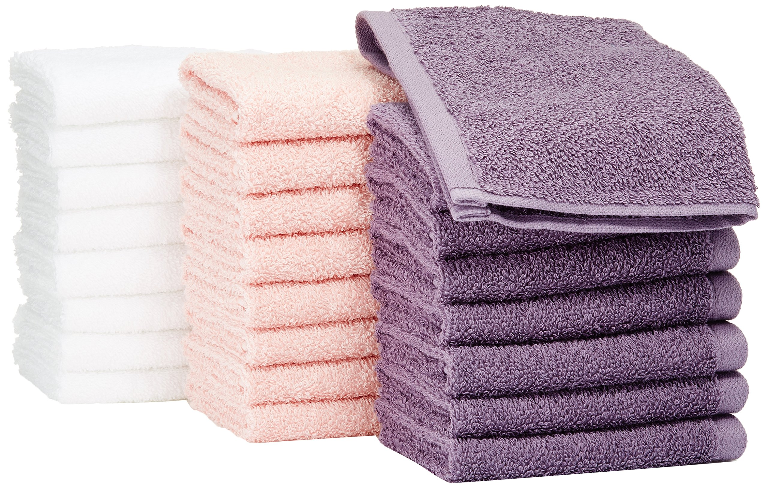 AmazonBasics Washcloth - Pack of 24 (Multi-color: Petal Pink, Lavender, White)