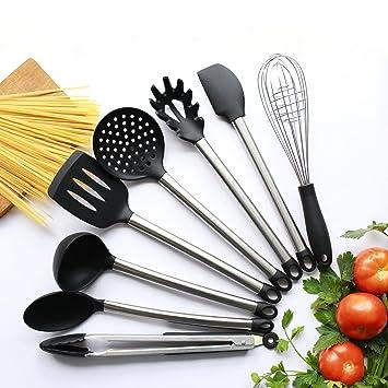 zumiey – 8 piezas Juego de cocina utensilios de cocina antiadherente – silicona y acero inoxidable