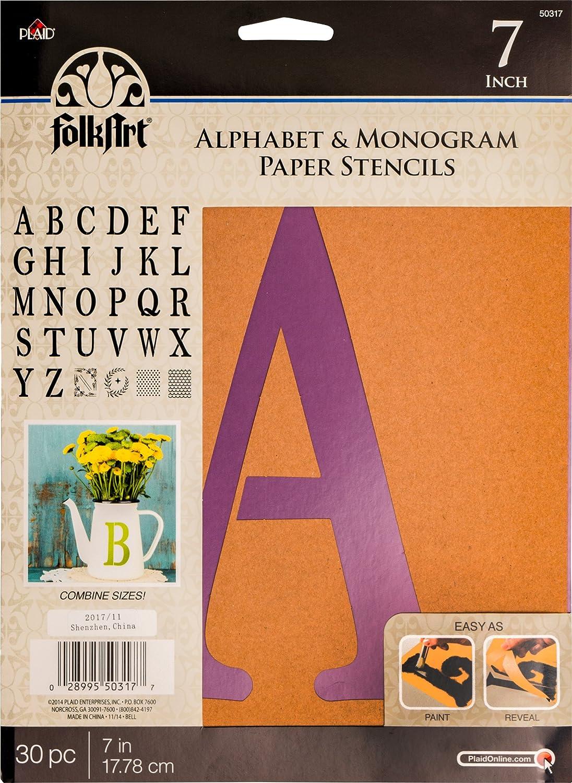 FolkArt PLA50323 Plaid Stencil Folk-Art Paper Alphabet /& Monogram Italic 6 6