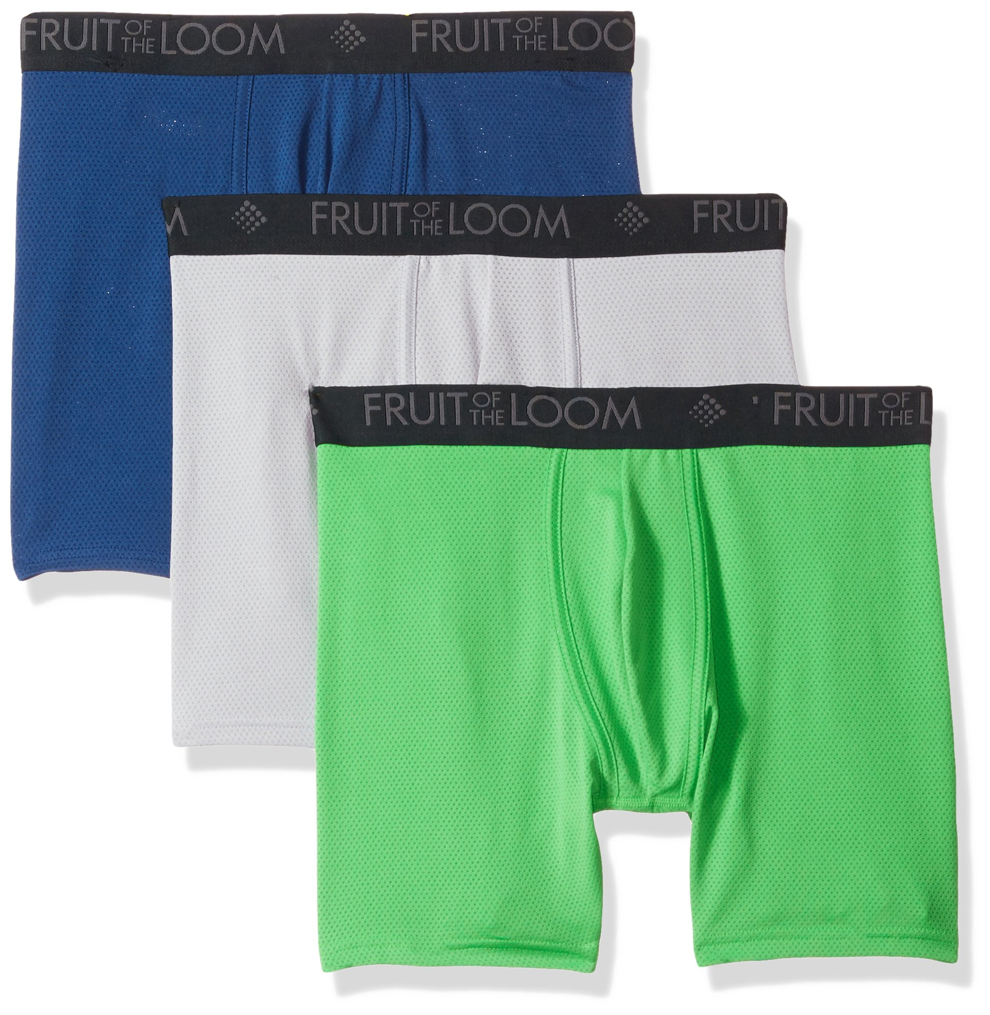 Fruit of the Loom Men's 3-Pack Breathable Lightweight Micromesh Boxer Brief, Assorted, Large