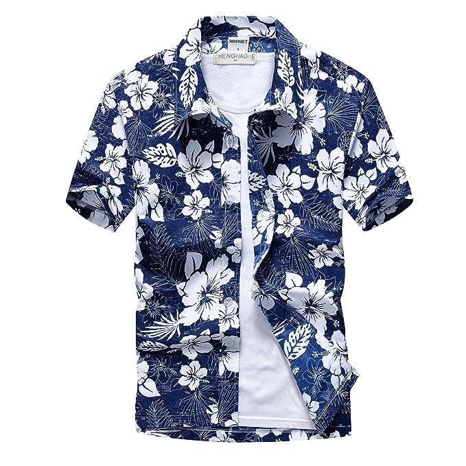 0f93d4f19a Men's Casual Color Print Short Sleeve Button Down Hawaiian Aloha ...