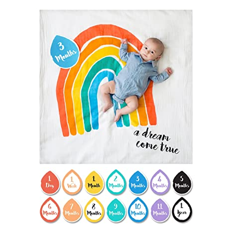 345a0078d2da8 lulujo Baby A Dream Come True First Year Milestone Cotton Blanket and Cards  Set: Amazon.in: Baby