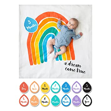 bad3ead39 Amazon.com  lulujo Baby First Year Milestone Blanket and Cards Set ...