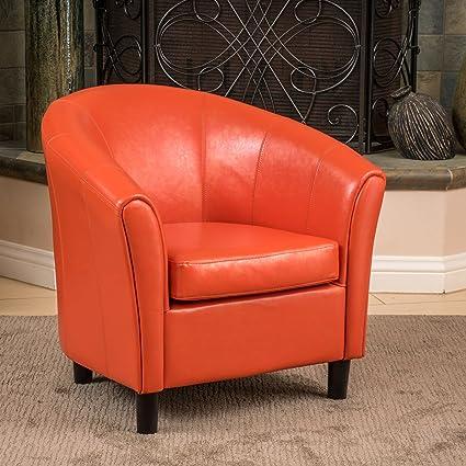 Amazon.com: Christopher Knight Home 213807 Napoli Bonded Leather Club Chair,  Orange: Kitchen U0026 Dining