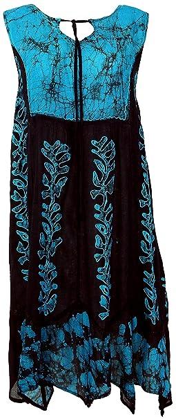 GURU-SHOP, Vestido Túnica XXL, Túnica Bordada Hippie Chic, Negro/Azul