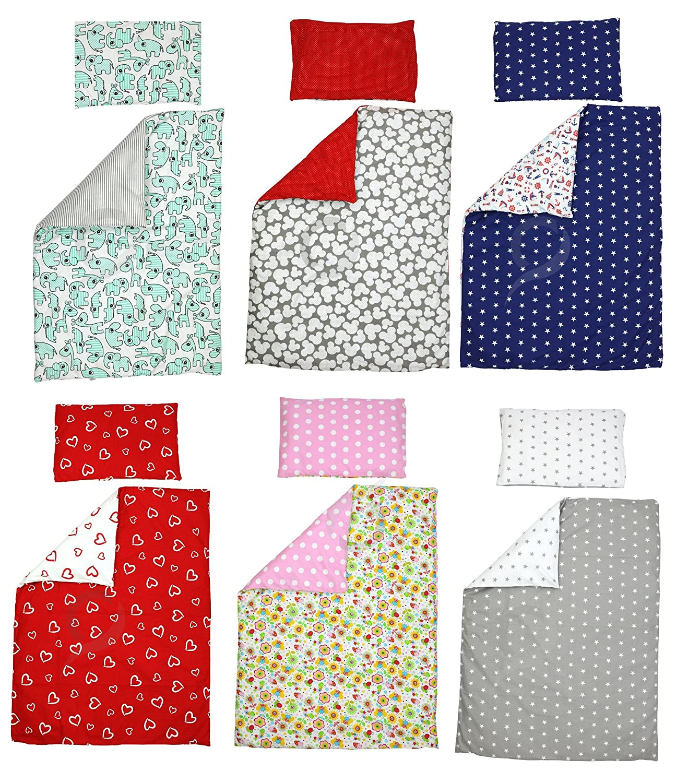 100/% COTTON Reversible Cot Duvet Cover and Pillowcase Set 100cm x 135cm grey /& white little stars