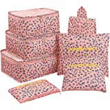 Mossio 7 Set Packing Cubes with Shoe Bag - Travel Carry On Luggage Organizer Pink Leopard