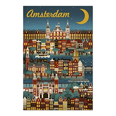 Amsterdam - Retro Skyline (Premium 1000 Piece Jigsaw Puzzle for Adults, 20x30, Made in USA!): Toys & Games