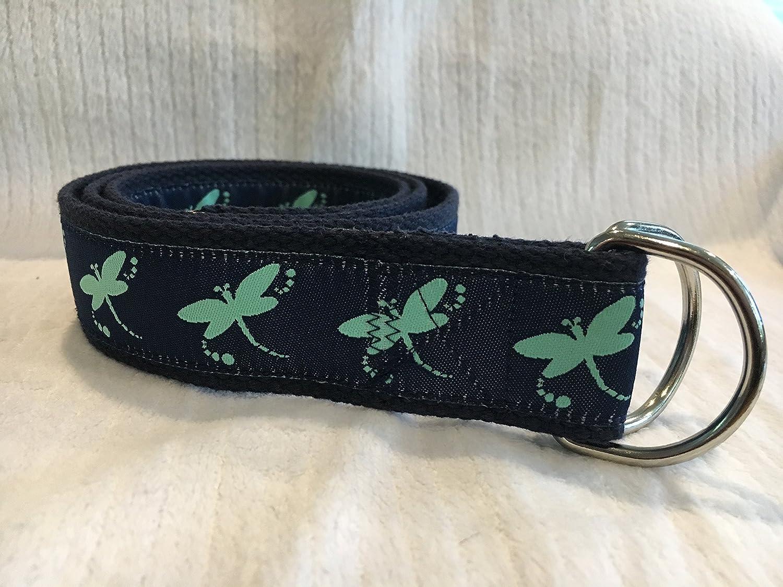 Adjustable D Ring Belt, Dragonfly Belt, Ribbon Belt, Dragonfly Ribbon, Preppy Belt