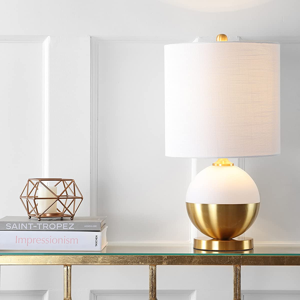 """Jonathan Y JYL5005A Table Lamp, 12"""" x 23.5"""" x 12"""", White/Brass with White Shade"""
