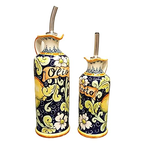 Lemon Design Italian Ceramic Oil and Vinegar Cruets Hand Painted in Tuscany