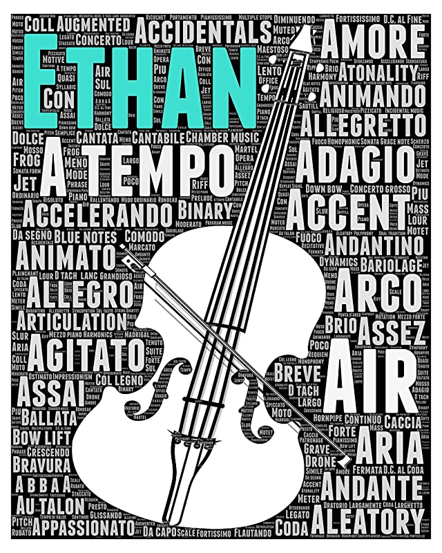 Cello Gifts for Men Women Kids Boys Girls - Personalized Cellist Gift - Musical Instrument Typography Wordle Wordart Portrait Wall Decor Print 8x10 Inch…