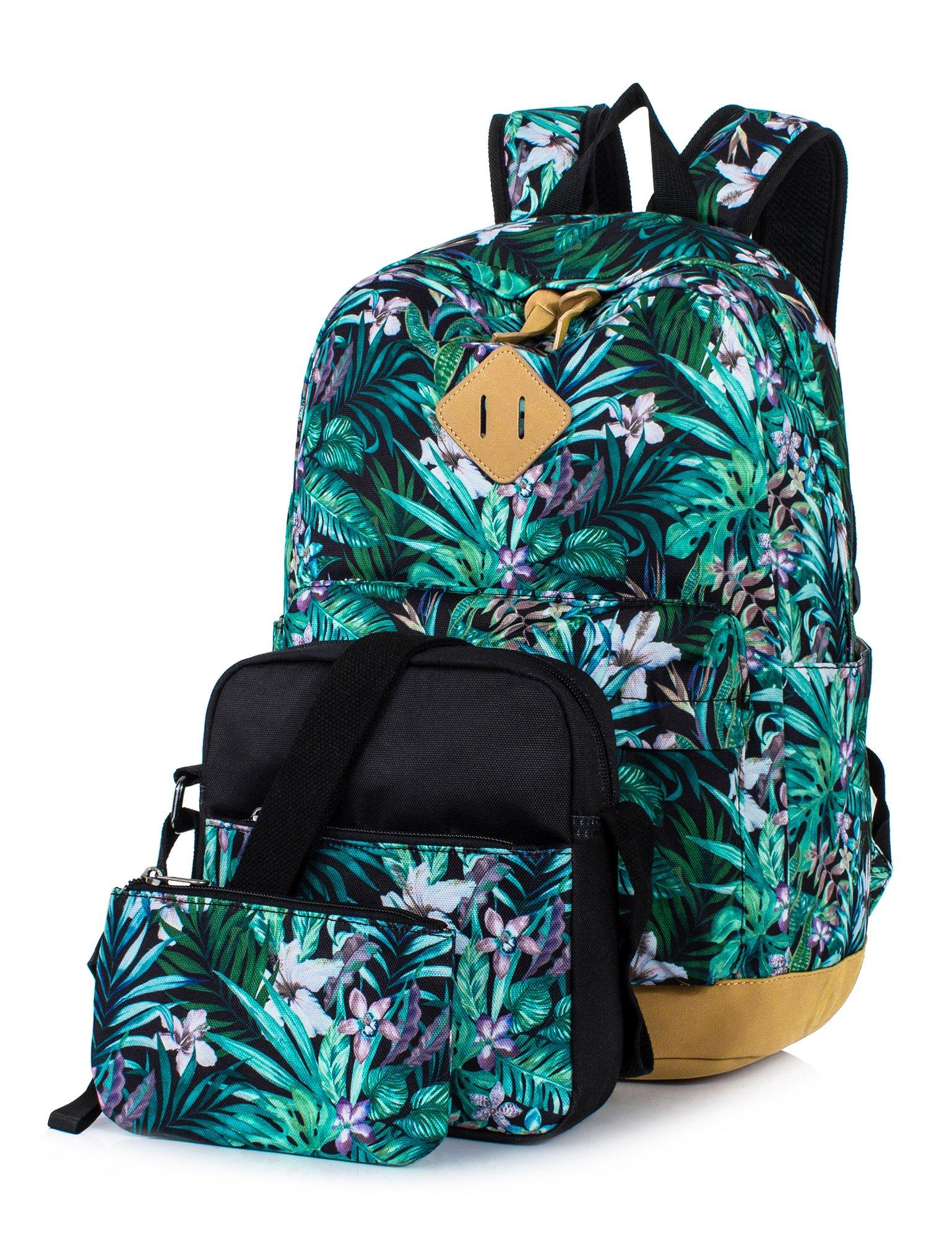 Leaper Floral Laptop Backpack School Travel Bags Shoulder Bag Purse Green 3PCS