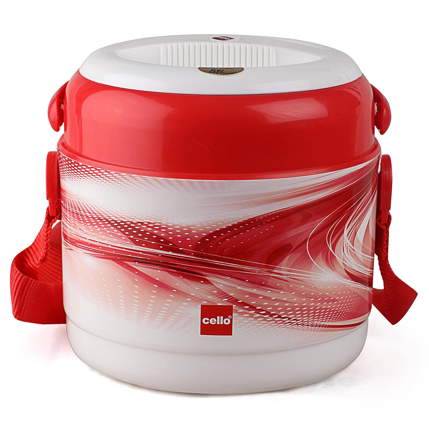 Cello Mark 2 Plastic Lunch Box Set, 390ml, Set of 2, Red