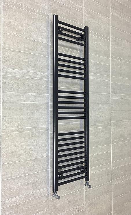 Radiador Toallero Recto Plano Negro Baño Calentador Radiador Estantería Calefacción Central 450mm Ancho x 1400mm Alto: Amazon.es: Hogar