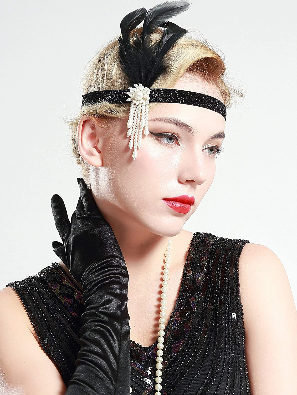 Diadema, Collar de Perlas, Boquilla y Guantes ArtiDeco 1920s Flapper Accesorios de los A/ños 20 Accessorios de Charlest/ón para Mujer Disfraz Gran Gatsby