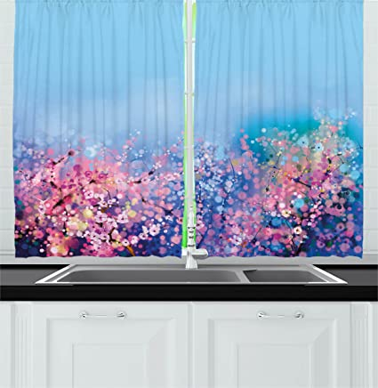Amazon Com Ambesonne Watercolor Flower Home Decor Kitchen Curtains