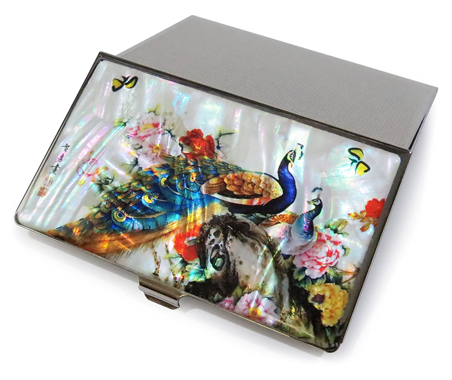 Peacock Business Credit Card Case Id Holder Metal Mother of Pearl