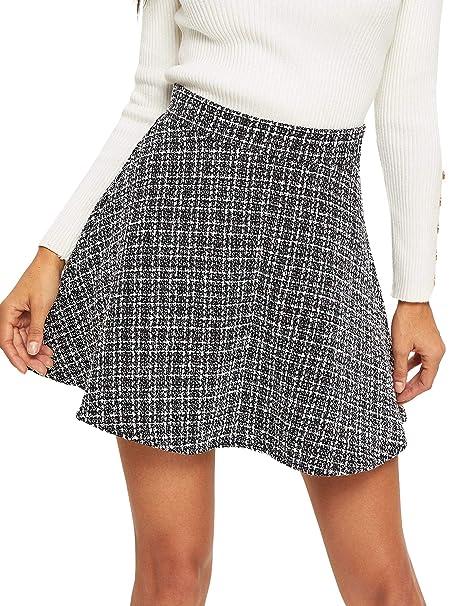 b92390faa Romwe Women's Cute A Line Tweed Zipper Back Flared Mini Skirt White US 2/X