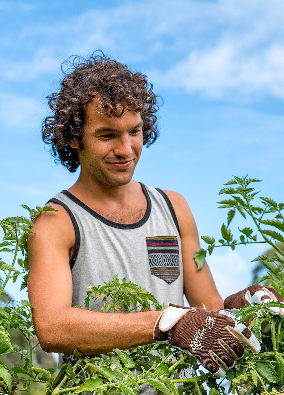 EXGA03 dos en /élasthanne respirant.Id/éal pour le jardinage. Gants de jardinage en cuir pour homme et femmeFermeture r/églable