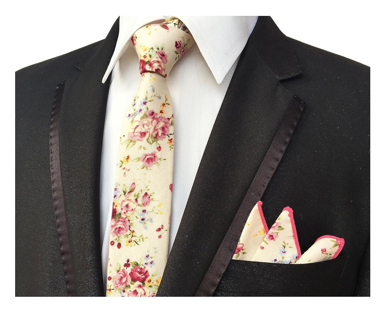 Mens Champagne Pink Elegant Floral Necktie With Pocket Square Gift