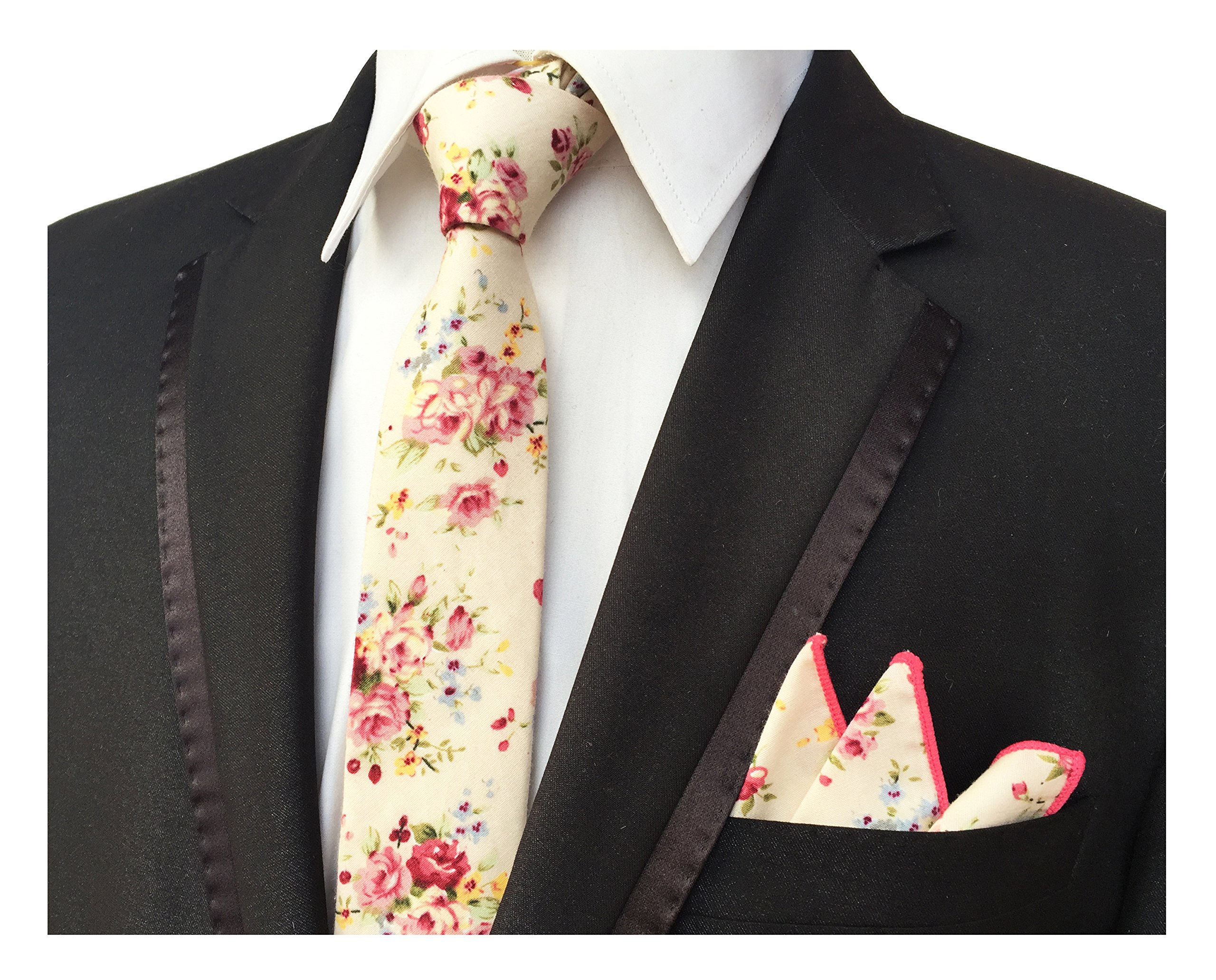 Men's Champagne Pink Elegant Floral Necktie with Pocket Square Gift Set Neat Tie