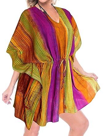 31d1e50959500 LA LEELA Rayon Tie Dye Loose Gown Women OSFM 14-28  L-4X  Orange 3301 at  Amazon Women s Clothing store