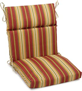Blazing Needles Outdoor Spun Poly 22-Inch by 45-Inch by 3-1/2-Inch 3-Section Chair Cushion, Kingsley Stripe Ruby