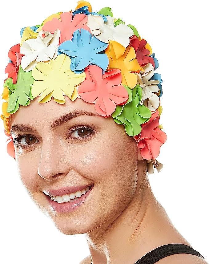 What Did Women Wear in the 1950s? 1950s Fashion Guide Beemo Floral Petal Ladies Bathing Swim Cap Women Retro Swim Hat Long/Short Hair $27.25 AT vintagedancer.com