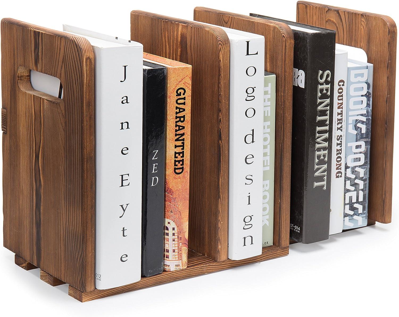 MyGift Brown Wood Adjustable 3-Slot Desktop Bookshelf Organizer