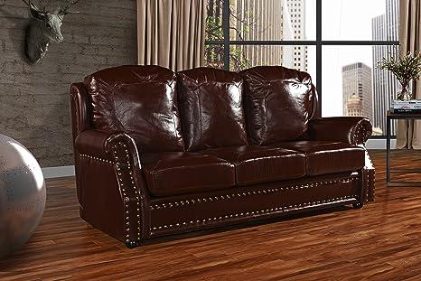 Amazon.com: Sofá de piel de 3 plazas, sofá de salón con ...