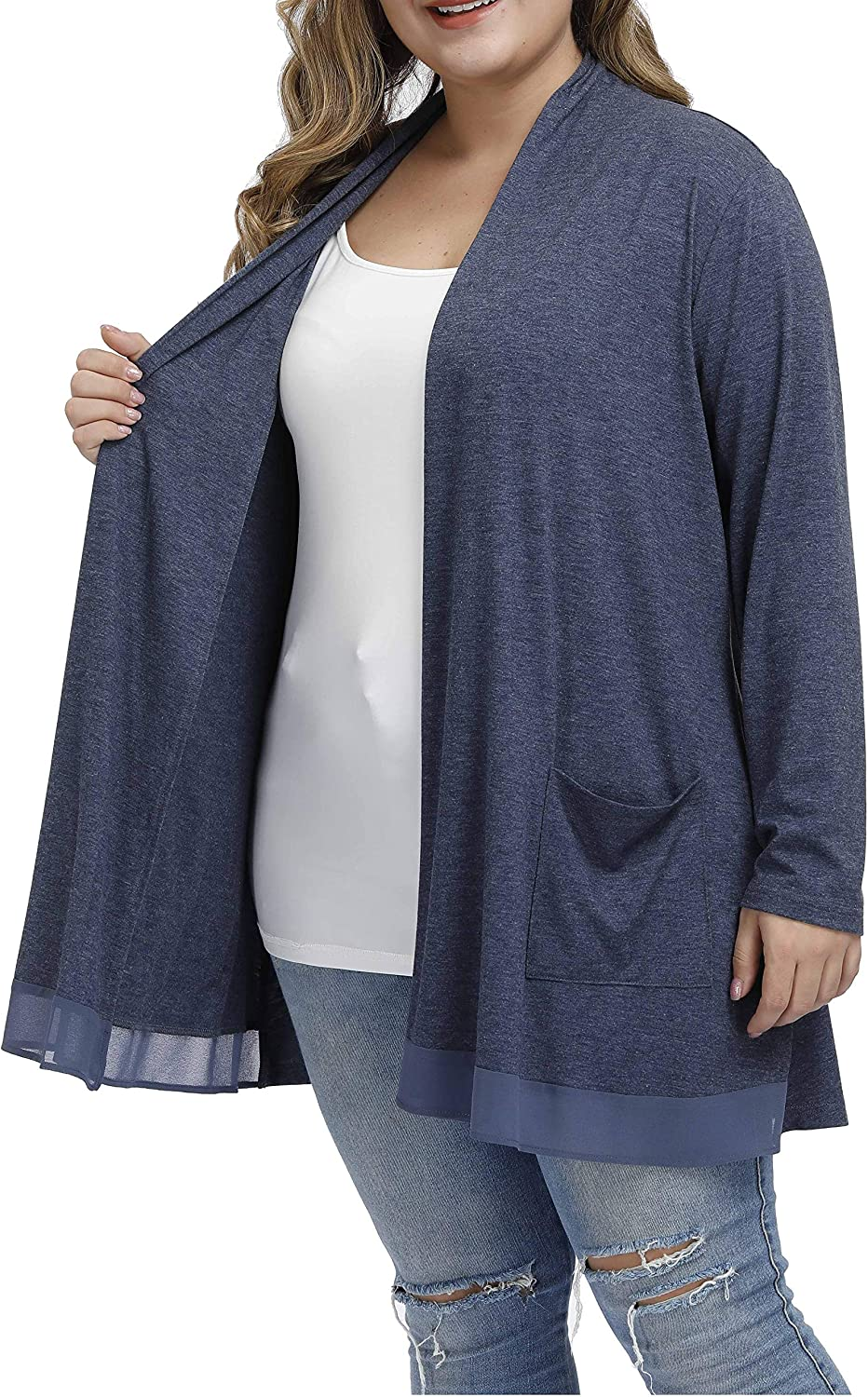 Shiaili Long Plus Size Cardigan Easy to Wear Drape Open Front Top for Women