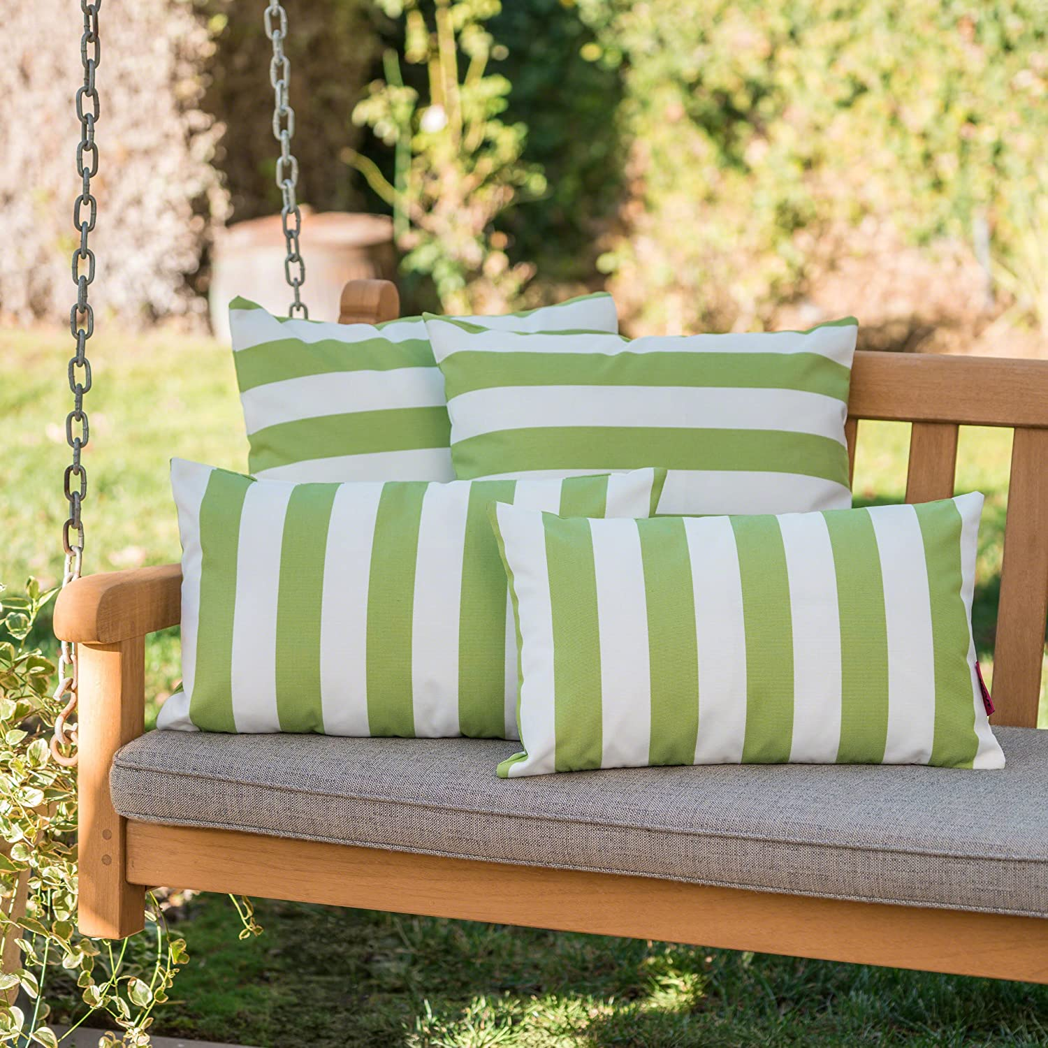 Christopher Knight Home Coronado Outdoor Green And White Striped Water Resistant Square And Rectangular Throw Pillows Set Of 4 Home Kitchen