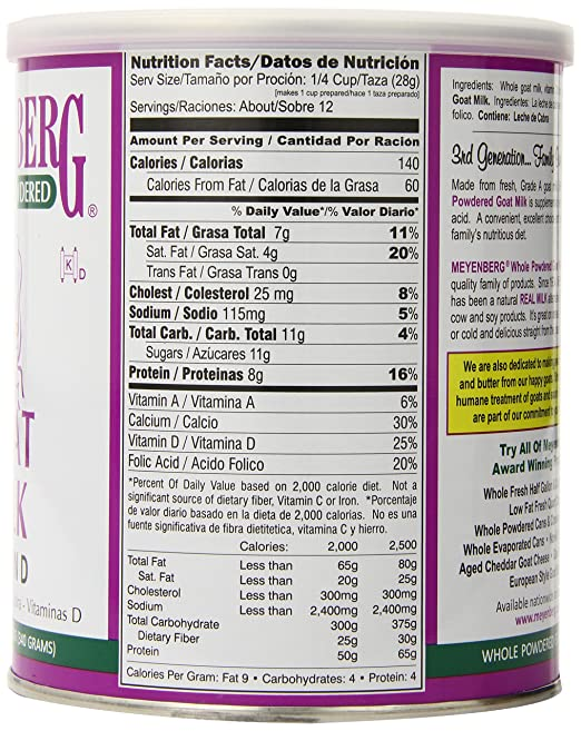 Amazon.com : Meyenberg Goat Milk, Whole Powdered Goat Milk, Vitamin D, 2Pack (12 oz (340 g)) Xmcklw : Grocery & Gourmet Food