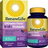 Renew Life Kids Probiotics 3 Billion CFU Guaranteed, 6 Strains, Shelf Stable, Gluten Dairy & Soy Free, 30 Chewable Tablets, Ultimate Flora Kids Probiotics Berry-licious