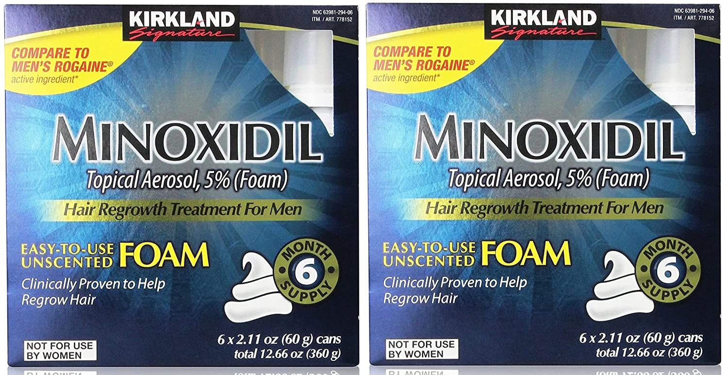 Amazon.com: Kirkland Signature Minoxidil Foam for Men, 2 Pack(6 x ...