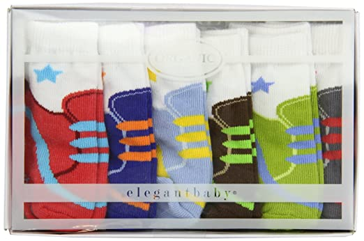 Amazon.com : Elegant Baby 100% Cotton, Size Newborn-12 Months, Comfortable, Non Skid 6 Pack Sams Choco Charlies Socks (Discontinued by Manufacturer) ...