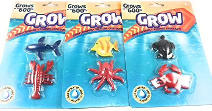 Amazon.com: MAGIC GROW EXCITING SEA CREATURES MULTI-PACK SET OF 3 PACKAGES (BECOMES 6 LARGE SEA ANIMALS) WHALE, LOBSTER, CRAB, TURTLE, SUNFISH OCTOPUS EACH SEA ANIMAL GROWS UP TO 600%: Toys & Games