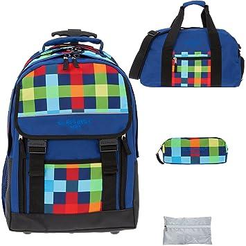 ec35c388ed50c 4 Teile SET  ELEPHANT HERO 2 Trolley + Sporttasche + Mäppchen Zipper +  Regenschutz 12603 (Multi Plaid)  Amazon.de  Spielzeug