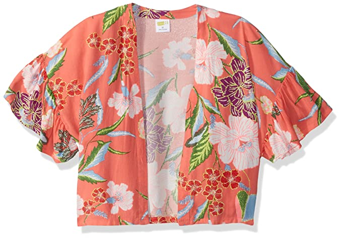 c0f6a66d8 Crazy 8 Girls' Toddler Open Front Kimono Cardigan, Coral Floral Bell Sleeve,  ...