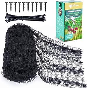 Tikola Garden Netting Kits 6.5 x 65.5ft Black Woven Mesh - Heavy Duty Bird Netting for Plants Fruits Vegetables, Anti-Bird Net with 10pcs Floor Nails and 100pcs Zip Ties Stops Birds Deer Animals