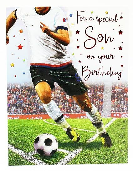 Tarjeta de felicitación de cumpleaños para hijo, fútbol ...