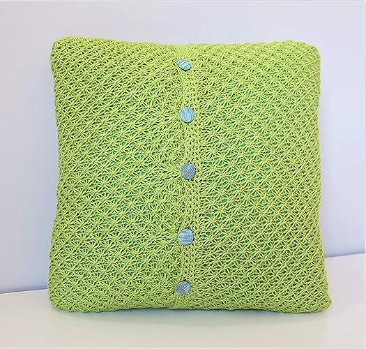 Funda de cojin de punto verde 40x40 cm: Amazon.es: Handmade