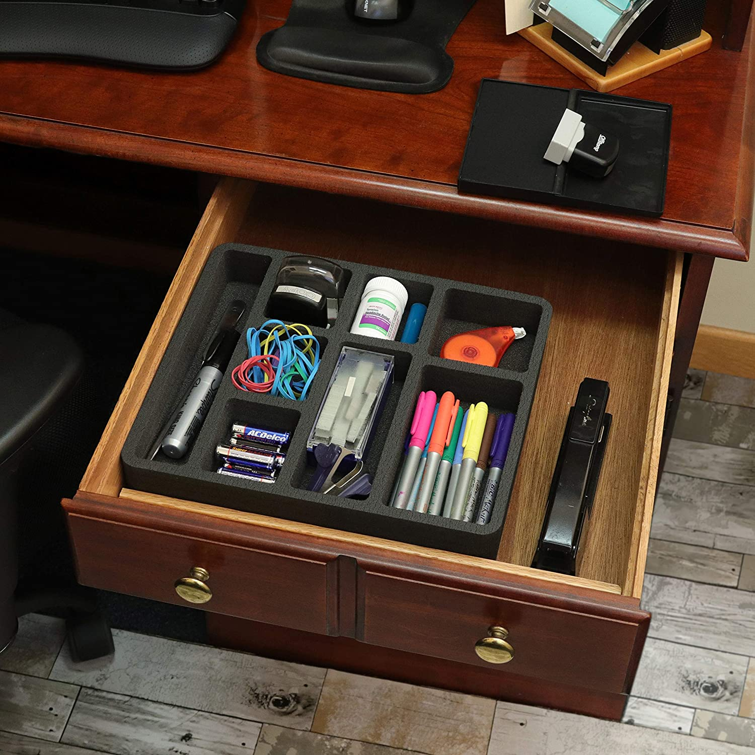 Polar Whale Desk Drawer Organizer Tray Non-Slip Waterproof Insert for Office Home Shop Garage 12 X 10.5 X 2 Inches Black 8 Compartments Extra Deep