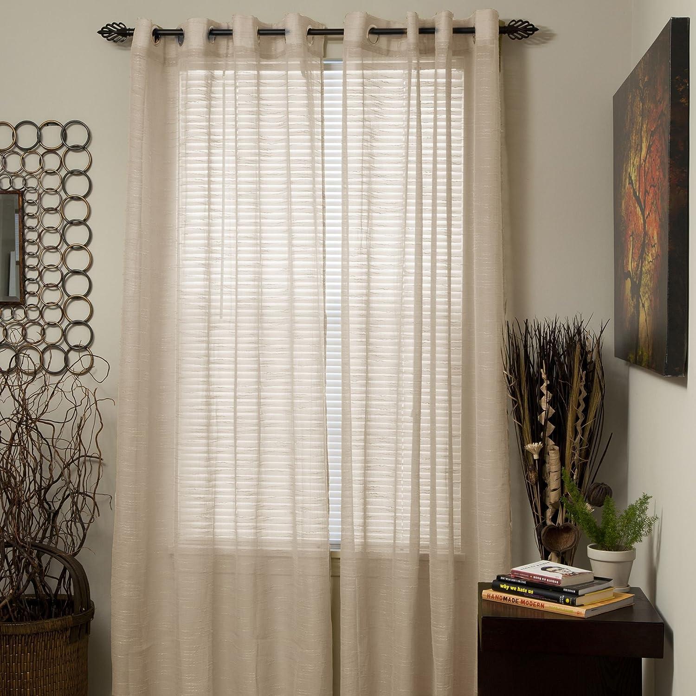 amazoncom lavish home mia jacquard grommet single curtain panel 108inch white home u0026 kitchen