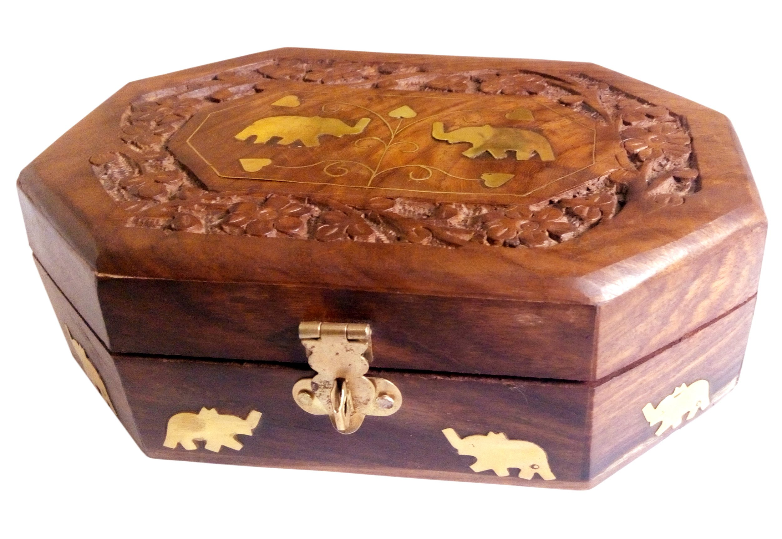 Details about  /Wooden Jewellery Box Octagonal Handcrafted Elephant Brass Inlay /& Wood Carvings